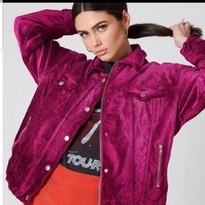 Free People Fuschia Velvet Trucker Jacket sz XS/S